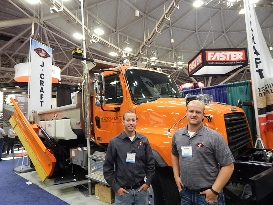 J-Craft, Lake Crystal, Minn., Territory Manager Shane Bretzman (L) and Territory Manger Brandon Oachs with a City of Rosmount, Minn., Freightliner plow truck featuring a 10.5 ft J-Craft Body, Force America Hydraulics and a Henke plow system.