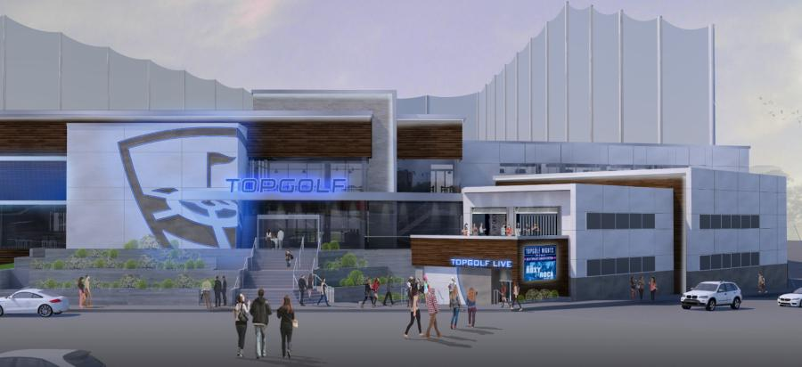 Aria Group Architects rendering. A rendering of the Topgolf Nashville facility.