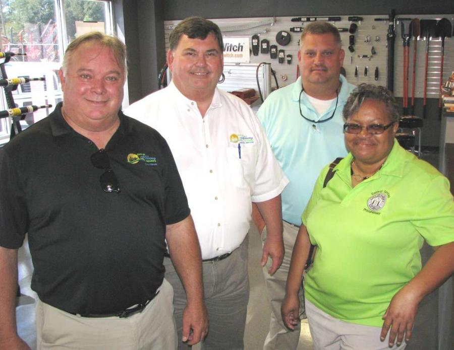 (L-R): Jerry Webb, Mike Trotter, Trip Swilley and Yvette Fields, all of the city of Albany, Ga., stop in for lunch.