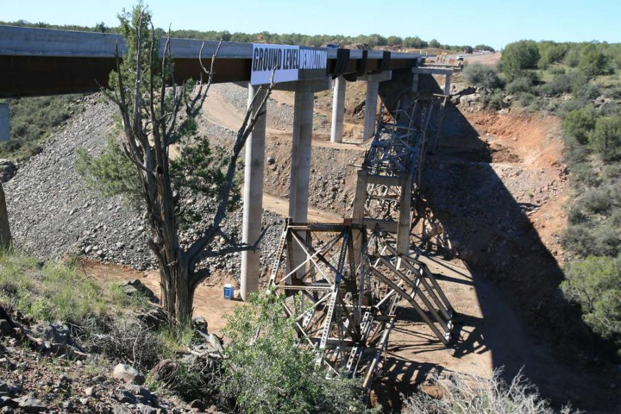 ADOT photo. The 62-year-old state Route 89 bridge at Hell Canyon was removed on