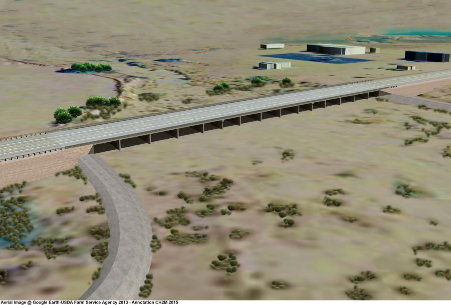 An artist's rendering of the project, created in February of 2016.  Image courtesy of AZDOT.