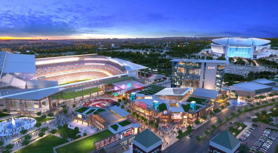Texas Live! photo.  The Texas Rangers and its development partner, The Cordish Companies, released new artist renderings and an expanded vision for the Texas Live! project that will break ground this November.