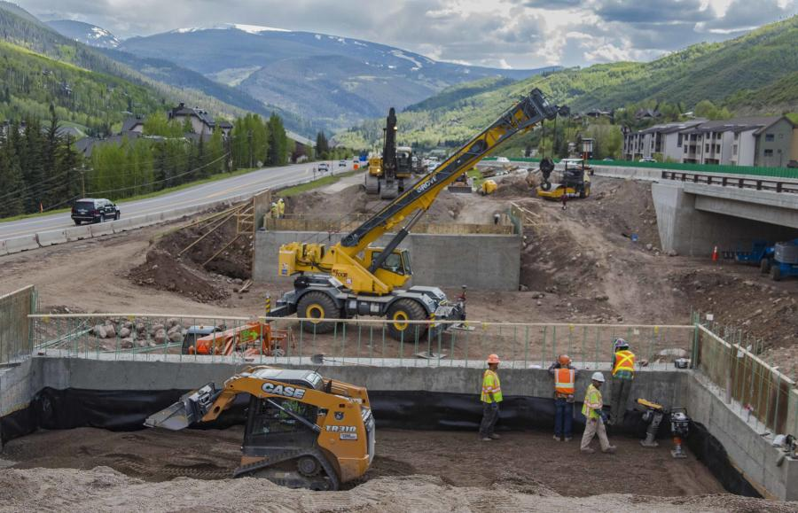 Colorado Department of Transportation photo. Phase 2 is under way on a $30 million project to add an I-70 underpass that connects north and south frontage roads in the town of Vail, Colo.