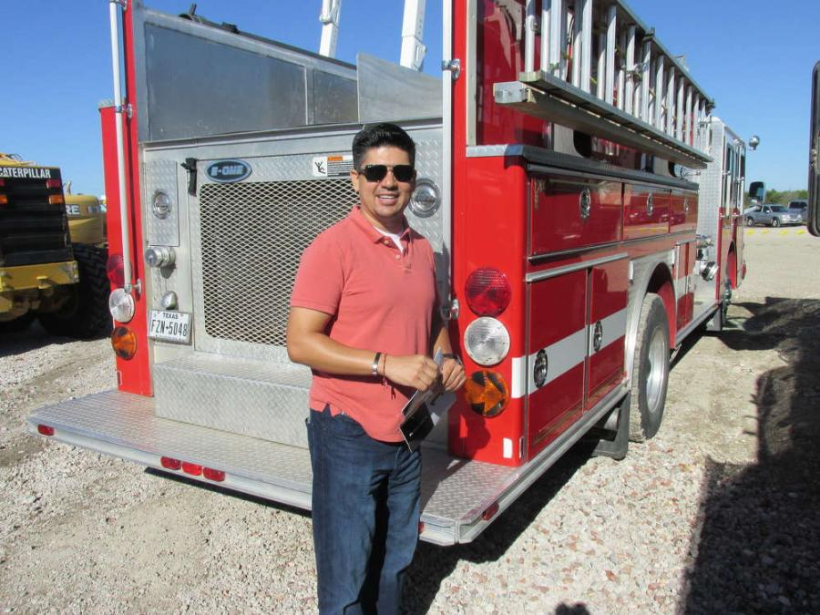Alonso Montenegro of A.M. Fire Truck Inc. hopes to take this fire truck manufactured by E1 back to Rockwall, Texas, with him.