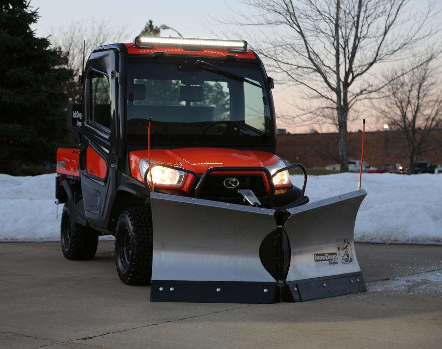 The SnowDogg VUT65 plow for utility vehicles offers aggressive snow removal in tight spaces.