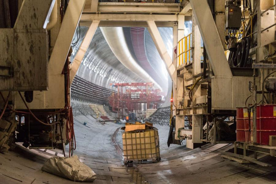 WSDOT photo. Looking south at the SR 99 tunnel from the back end of the SR 99 tunneling machine on May 12, 2016. From this viewpoint, you can see that the tunnel takes a slight westward turn as it heads under downtown Seattle near Yesler Way.