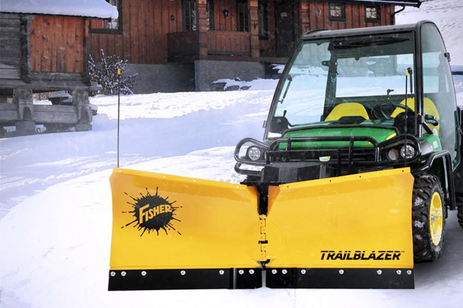 The Trailblazer V-plow is a 6 ft. (1.8 m) wide high-performance UTV plow that adjusts to 5 ft. (1.5 m) when fully angled or in V mode to fit most standard sidewalks and pass through gates.
