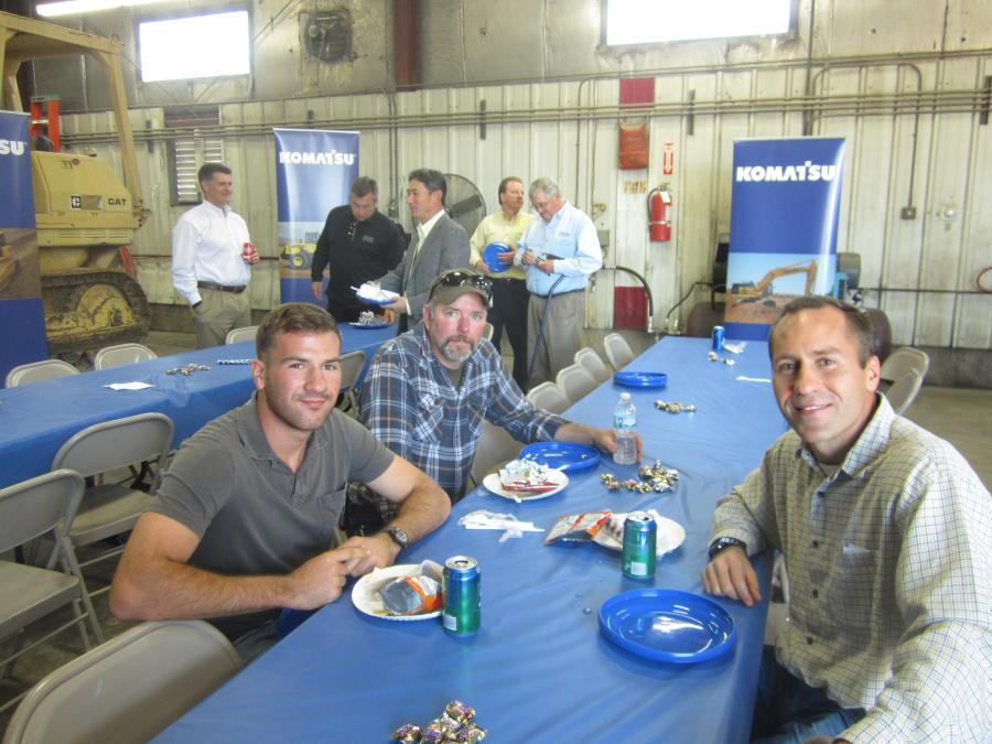 (L-R): Brett and Ryan Hoerr and Chris Shipley, all of Hoerr Machinery LLC, Peoria, Ill., talk after lunch at the open house.