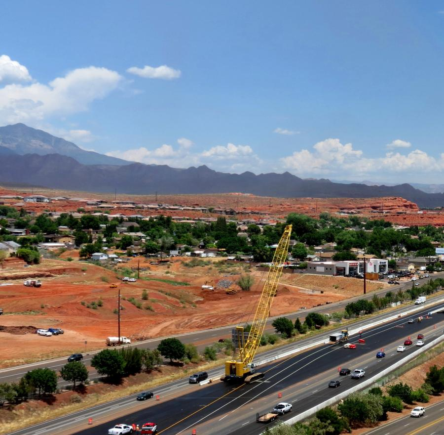 Work started last spring on a $21.5 million project to add an additional lane in each direction on a 2-mi. (3.2 km) stretch of I-15 from St. George Boulevard interchange in St. George to Green Springs interchange in Washington, Utah.