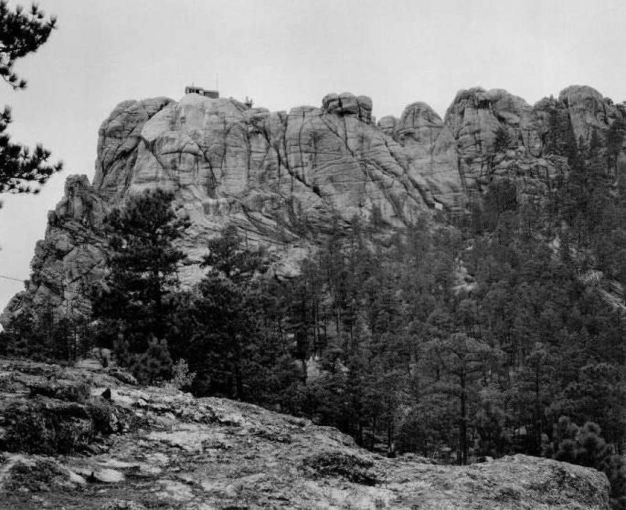 Mount Rushmore with the face of George Washington first beginning to appear (top left), c. 1930s. Image courtesy of Bill Groethe.