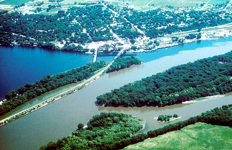 Aerial photo near Prescott, Wisconsin, where the clearer waters of the St. Croix meet the muddier Mississippi River.