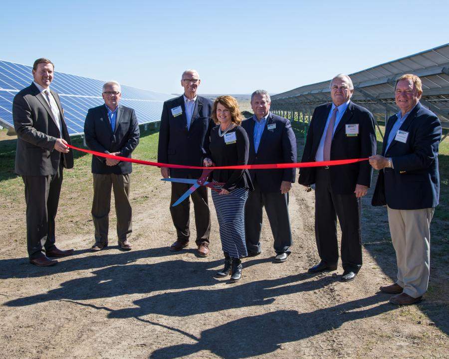 Missouri River Energy Services photo. Officials held a ribbon-cutting ceremony for the $2 million solar farm at the Pierre airport, with a sizable crowd in attendance.