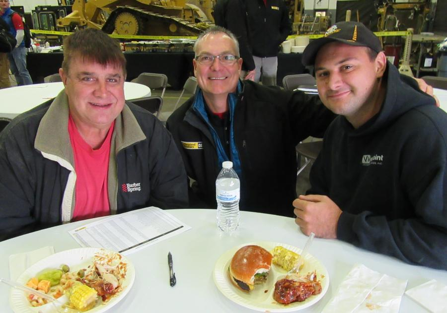 Wayne Thompson Sr. (L) and Wayne Thompson Jr. (R), both of Thompson Electrical Construction, were joined by Cleveland Brothers Vice President of Sales Tom Schachner during lunch at the event.