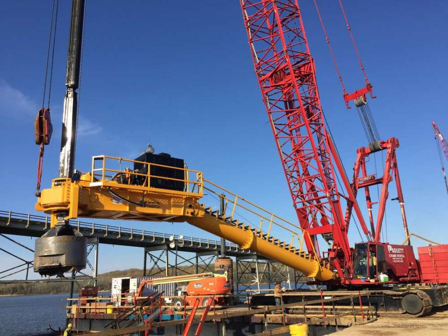 Equipment on site has included crane-mounted drill attachments and reverse circulatory drills for installation of the drilled shafts.