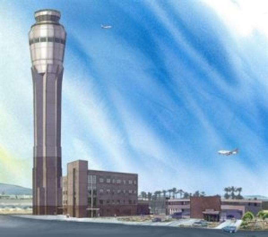At 352 ft. (107 m), the tower is the second-tallest in the nation.  (McCarran Airport photo)