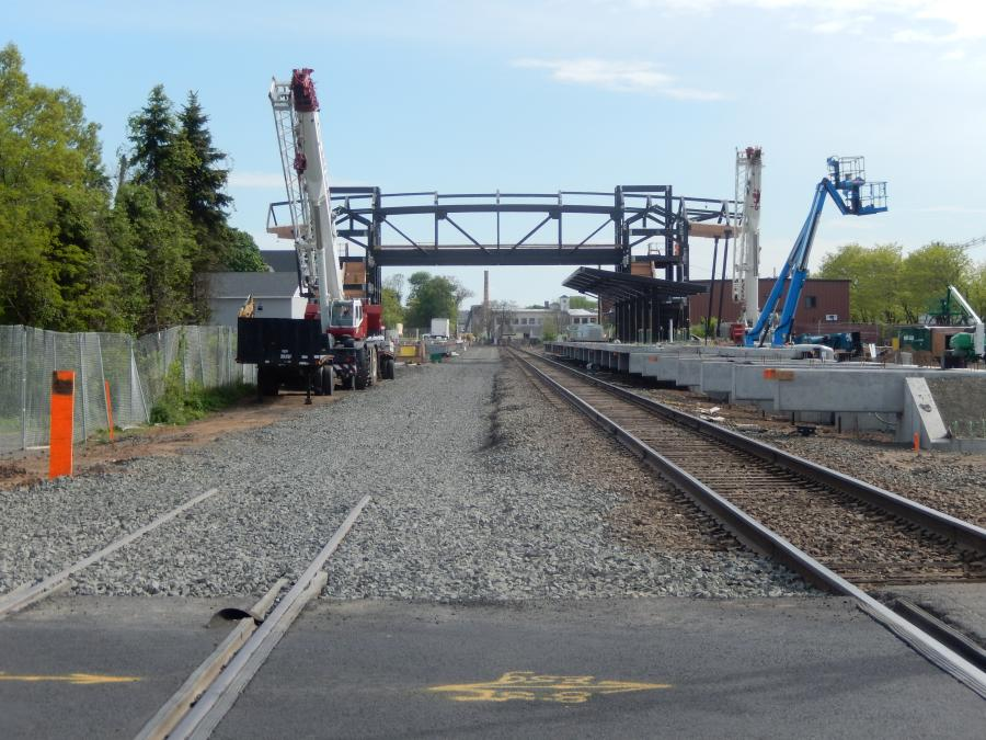 Construction continues on the overhead pedestrian bridge at the Wallingford Station. (Connecticut Department of Transportation photo)