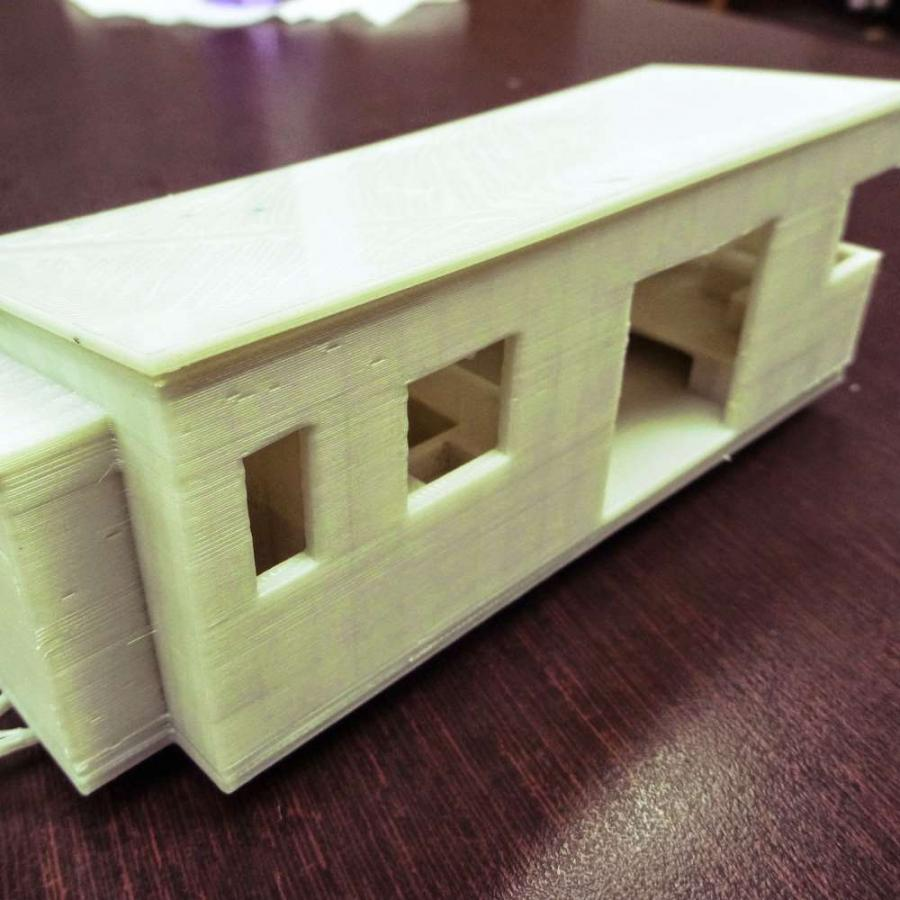 The students in Salmi's class used the printer to make individual bricks used in the foundation of tiny houses they are building at three-quarter-inch scale. (Wee Make Change photo)