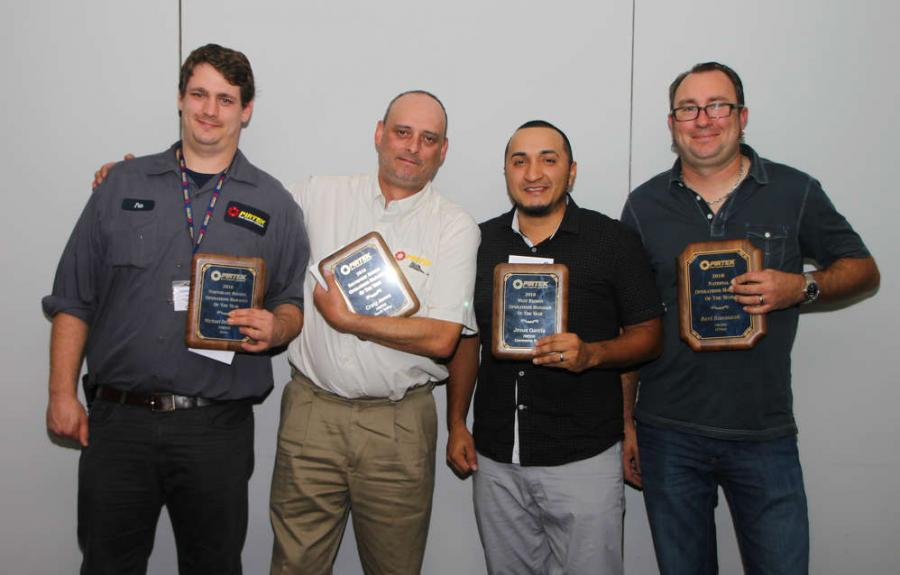 PIRTEK operations managers honored during the recent conference in Cocoa Beach, FL, include (L-R) Michael Dello Russo, Craig Jones, Jesus Garcia and Bert Banaszak.