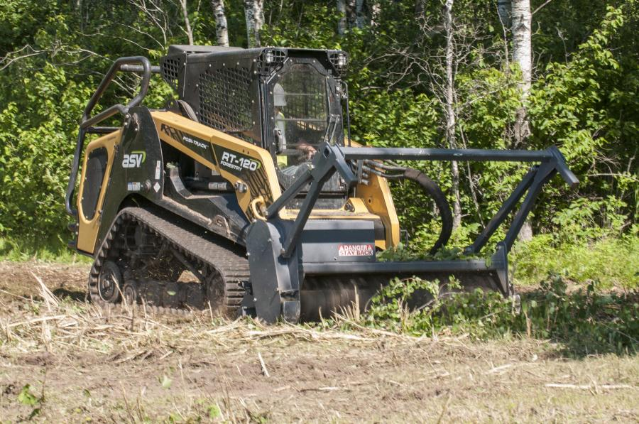 ASV LLC's RT-120 Forestry Posi-Track compact track loader delivers maximum size and power for workers in the forestry industry. The machine's durability, strength and innovative undercarriage make easy work of demanding tasks such as mulching, brush cutting and highway and utility work.