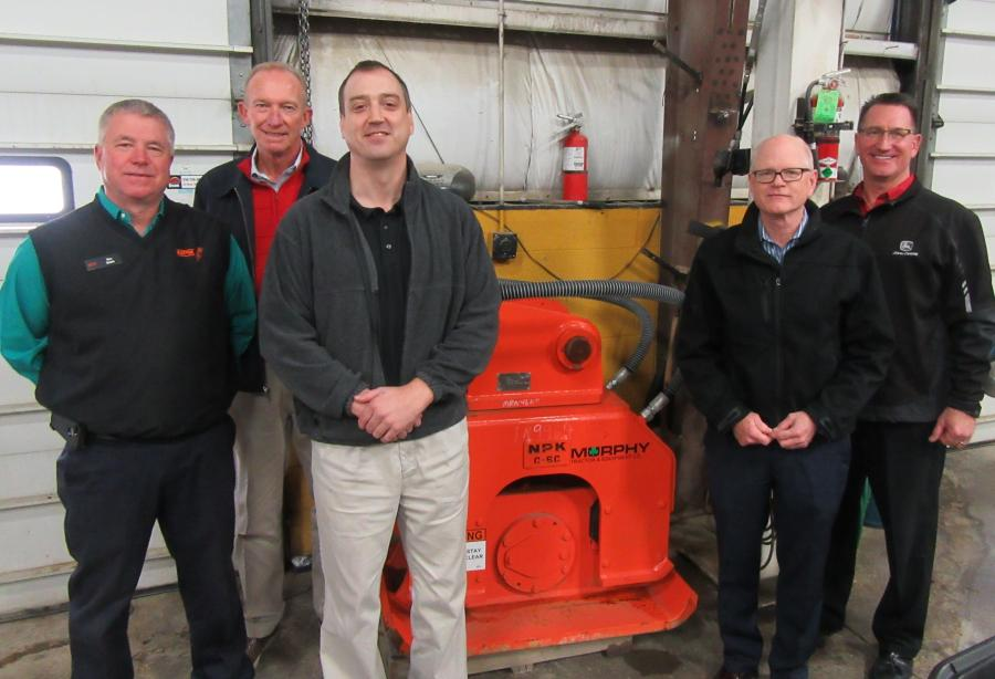 (L-R): Ken Skala, Jay Noel and Andy Borisa, all of NPK, join Mike Slinger and Marty Hlawati, Murphy Tractor & Equipment Company, to welcome guests at the Brunswick branch.