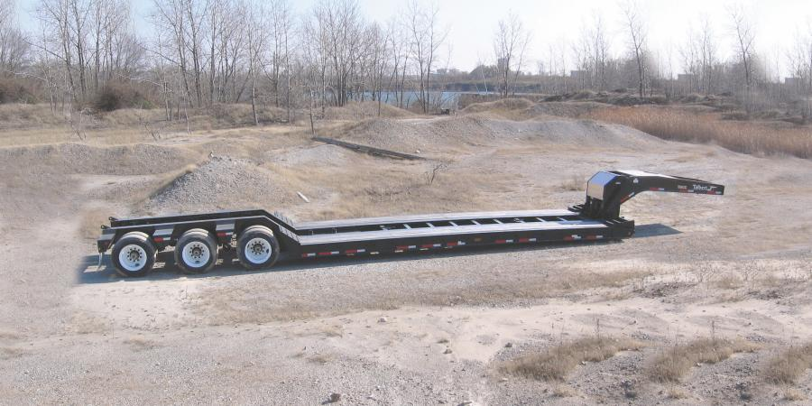 Talbert Manufacturing's 55CC lowbed trailer features an industry-leading 18-inch deck height along with a high-capacity, 26-foot-long deck for easy hauling of large equipment while ensuring maximum clearance under bridges and through tunnels.