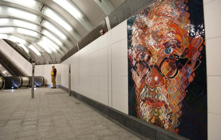 In this Dec. 22, 2016 file photo, mosaics by artist Chuck Close adorn the walls of the new 86th Street subway station on the Second Avenue line in New York. Passengers began riding the new line on Sunday, Jan. 1, 2017. (AP Photo/Seth Wenig)