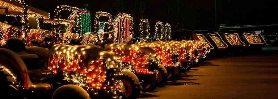 A row of tractors are lit up for the Christmas show.