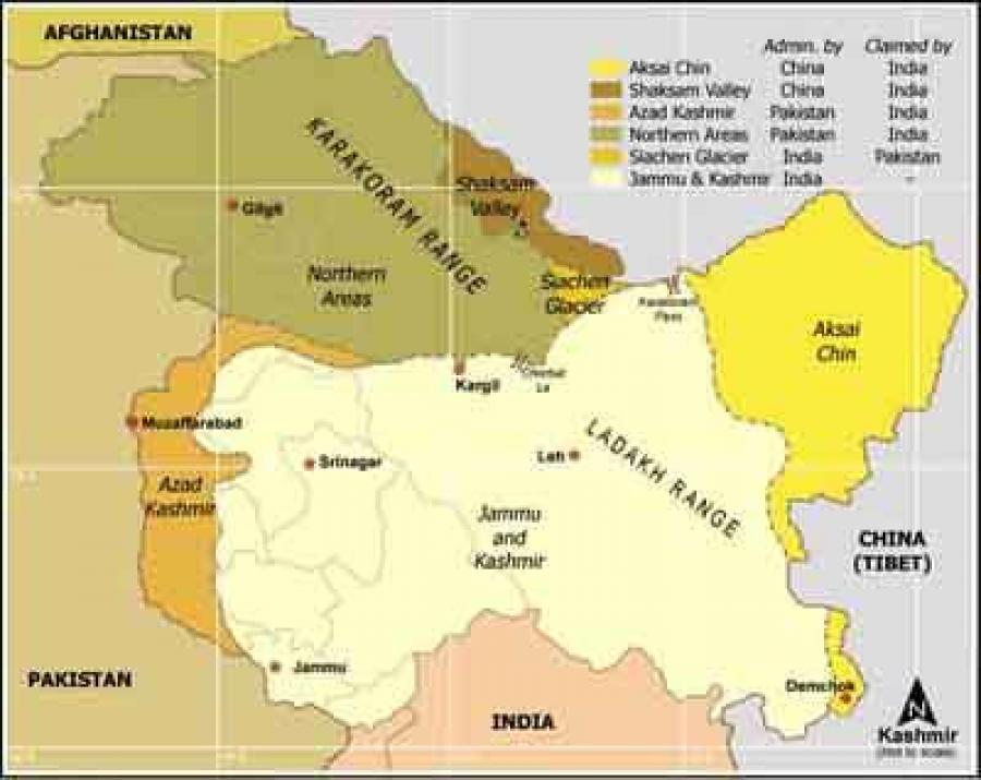 Map of Jammu and Kashmir.