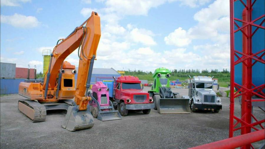 Meet the crew of Terrific Trucks from Sprout. L-R Dug, Blinker, Tork, Sparky, and Stotz. http://url.ie/11nla