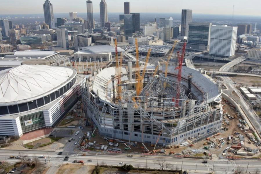 Construction site for the new Atlanta Falcons stadium.