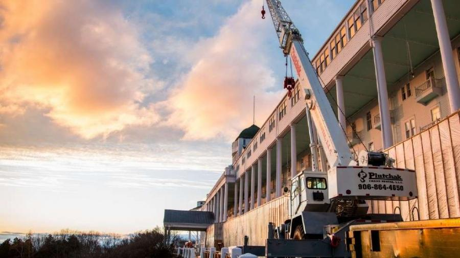 Construction continues on the Grand Hotel in Michigan.