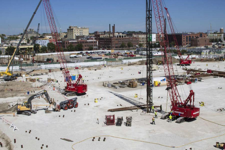 Crews from Mortenson Construction started work on the construction of the $524 million new Milwaukee Bucks Arena/entertainment complex last June, which will become the new home of the NBA's Milwaukee Bucks and the Marquette Golden Eagles men's basketball NCAA Division I team.