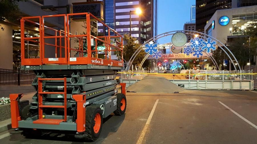Skyjack brings festive cheers to Phoenix, setting up an ice skating rink in the center of downtown.
