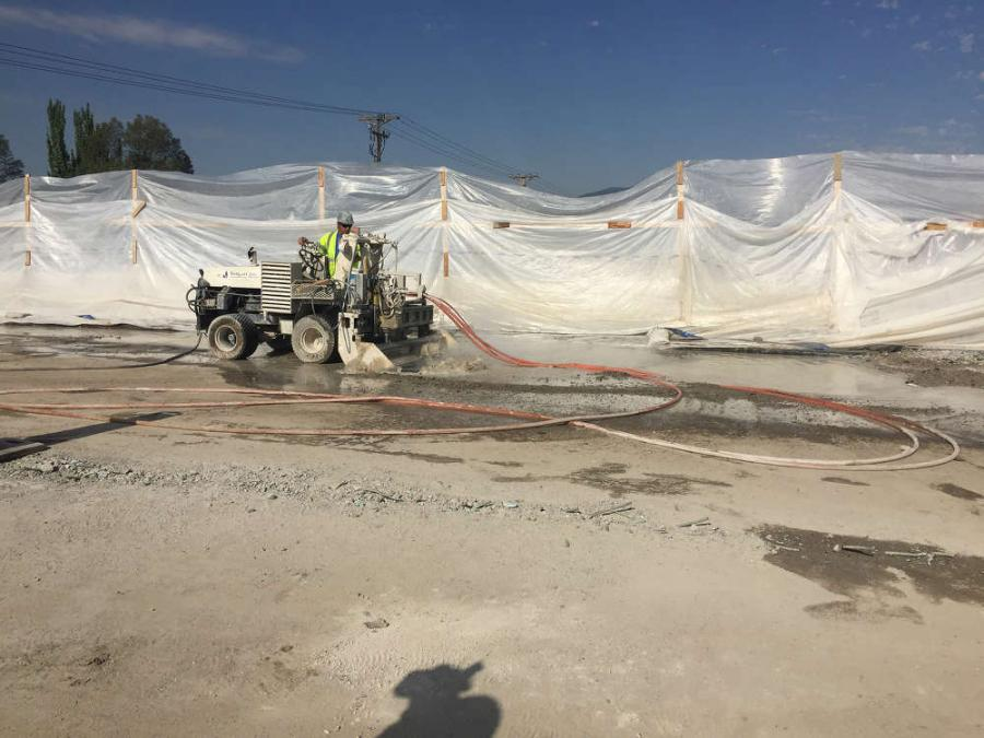 The Utah Department of Transportation (UDOT) is utilizing an innovative system of high-pressure water jets to refurbish bridge decks on the I-215 project.