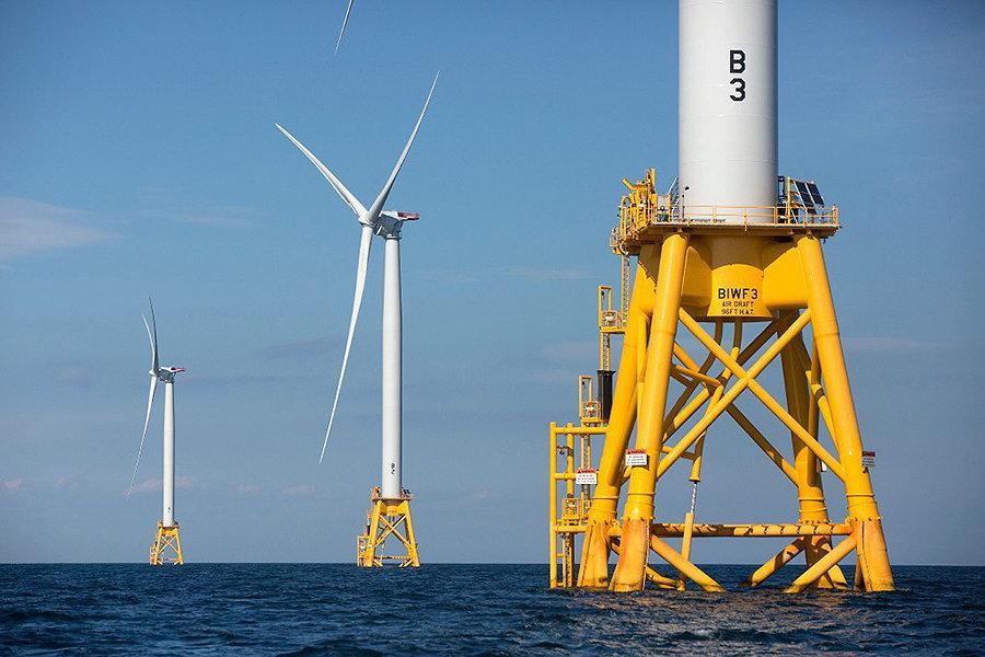 Offshore wind turbines in Rhode Island. Photo by Michael Dwyer.