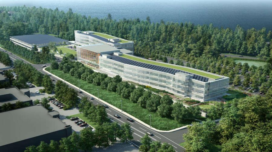LG Electronics USA photo Rendering of the new 350,000 sq. ft. (32,516 sq m) LG North American Headquarters. The $300 million building project, which began with a ground breaking ceremony in Englewood Cliffs, N.J., will create more than 2,000 construction jobs.