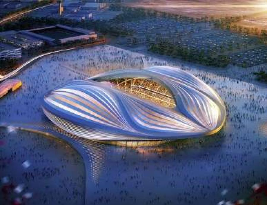The Doha stadium would seat 40, 000 fans and the design is based on the dhow boat  that Qataris traditionally used for pearl diving. http://url.ie/11p0f