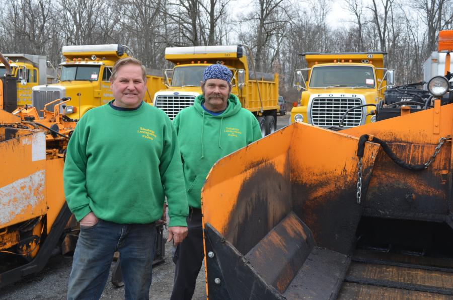 Dan Ganovski (L), part owner of Sanatoga Landscaping & Paving, Douglassville, Pa., and Eric Dienerm, a subcontractor of Sanatoga Landscaping & Paving, are looking for equipment to help them with upcoming projects.