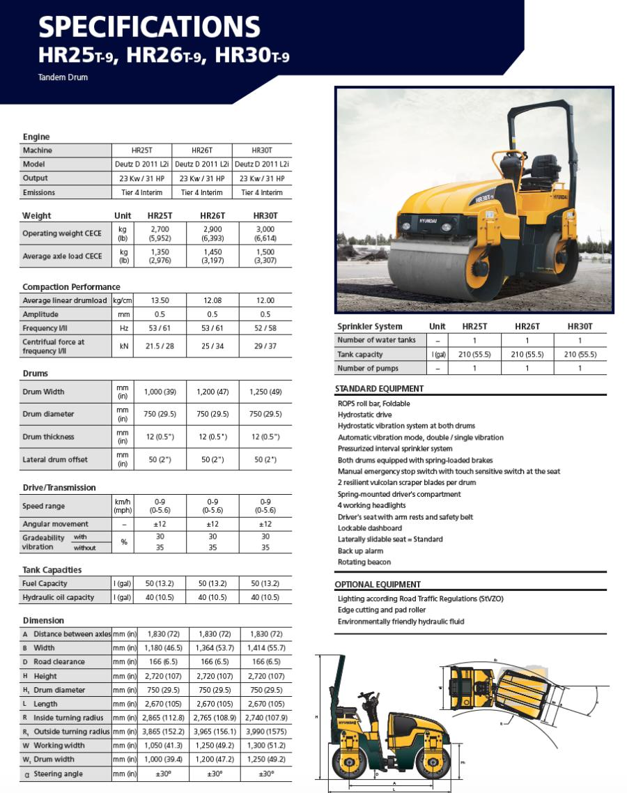 Spec sheet for the HR26T-9 tandem drum roller.