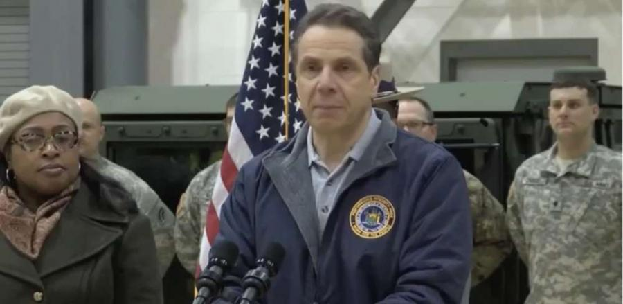 Governor Andrew Cuomo speaks to a group in Rochester that was without powers for days.
