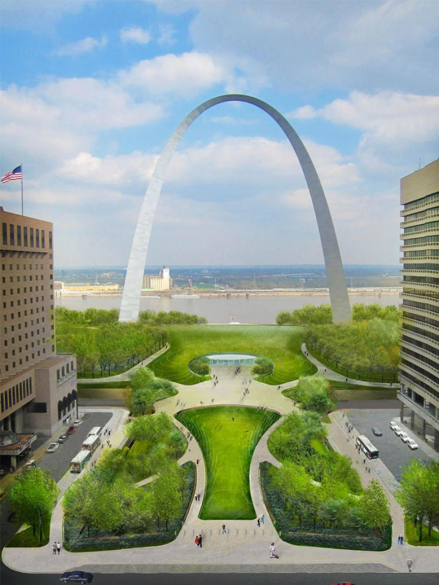 Artist rendition of the Arch Grounds Renovation Project.  Credit Courtesy CityArchRiver