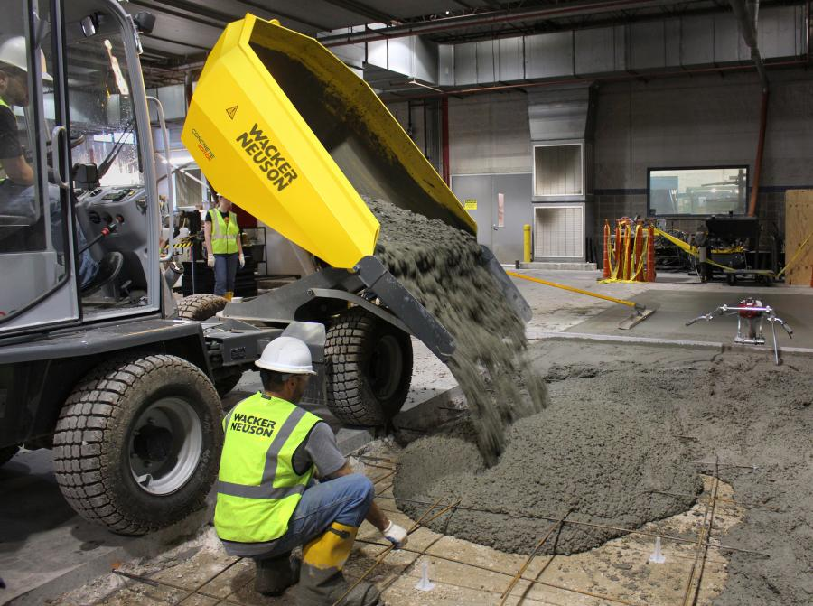 The larger capacity of the dumper, compared to a concrete buggy, allows contractors to transport 40 cubic feet of concrete per load, plus the dumper travels up to 14 miles per hour, making the concrete placement process faster and more efficient, reducing cycle times.