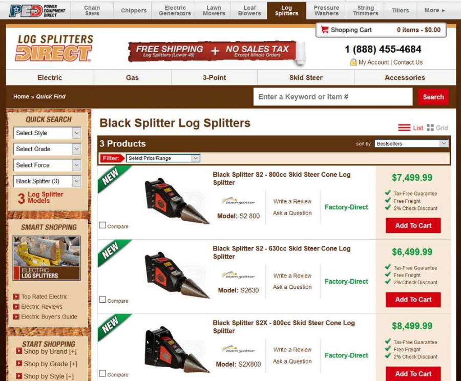 Atlantic Excavator Attachments has cemented a deal with Power Equipment Direct to begin selling its Black Splitter wood splitting attachments online at logsplittersdirect.com.