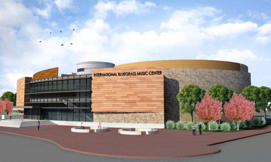 Artist rendering of the International Bluegrass Music Center in Owensboro, Kentucky.