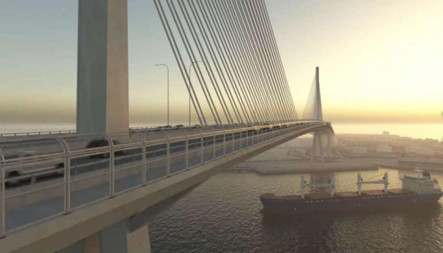The bridge will link downtown Corpus Christi to North Beach. Photo: YouTube/Harbor Bridge Project