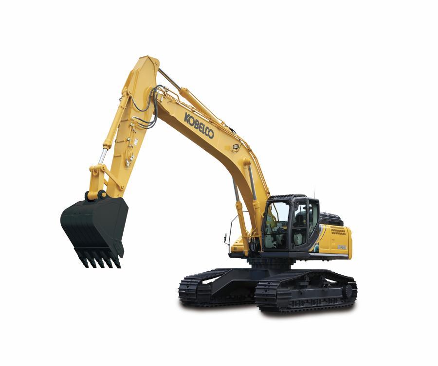 The Kobelco SK300 crawler excavator.