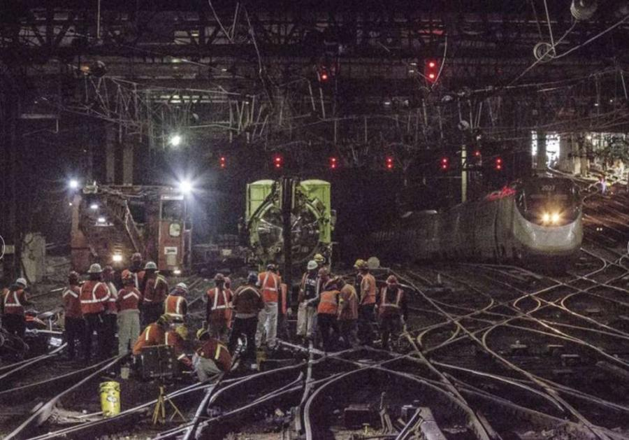 A portion of track that caused a derailment at Penn Station.