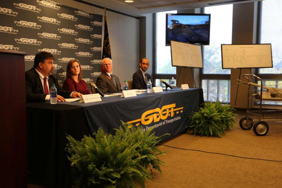 (L-R): Marc Mastronardi, director of construction; Meg Prikle, chief engineer; Russell McMurry, commissioner; and Andrew Heath, state traffic engineer, all of GDOT, discuss plan for the I-85 bridge removal and reconstruction.