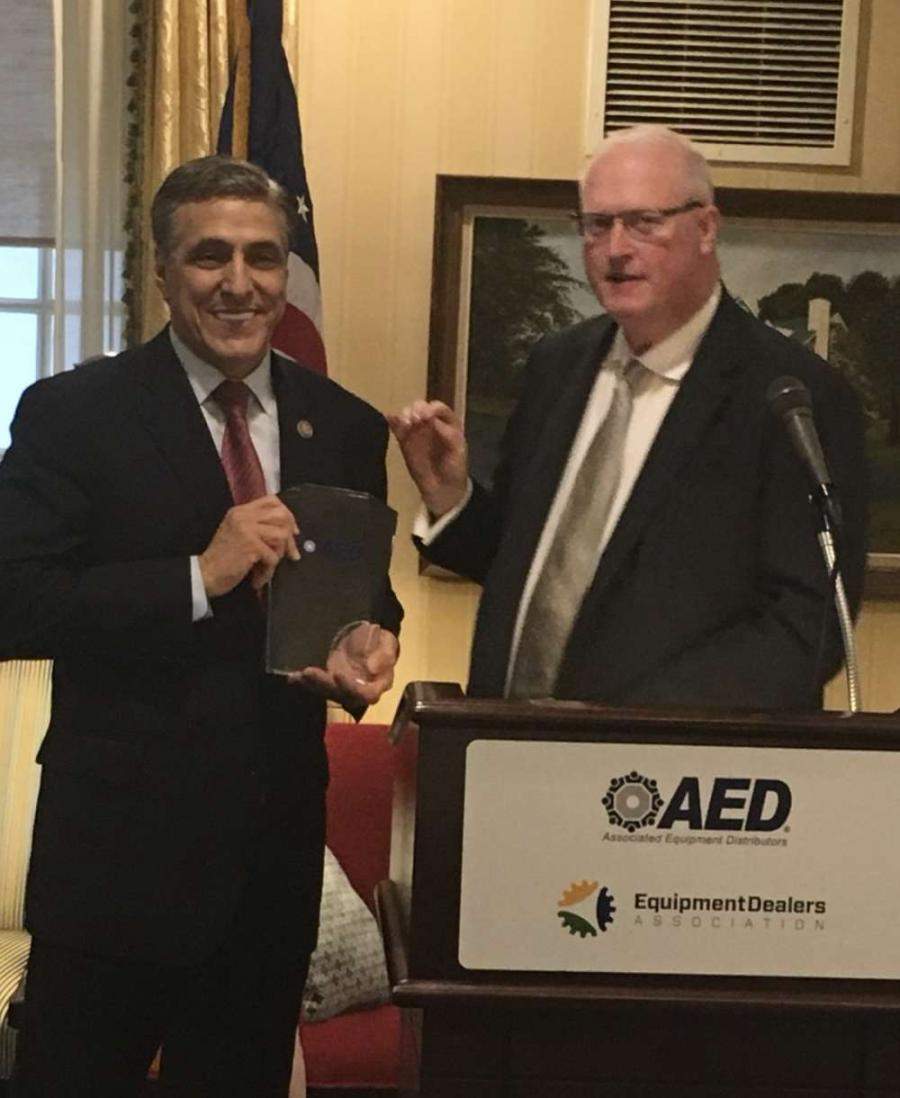 Associated Equipment Distributors (AED) presented Congressman Lou Barletta (R-Pa.) with its 2017 Legislative Leadership Award.