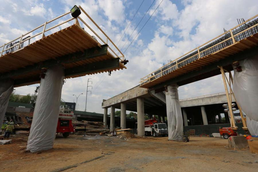 While typical similar projects often use a pair of 150-ton (136 t) cranes, for efficiency and time savings, an 800-ton (725 t) crane — one of the largest around — is being used to set all the spans for I-85.
